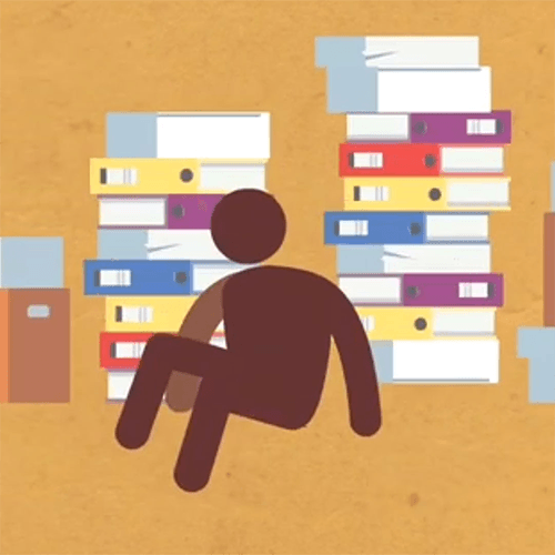 Stick figure surrounded by paper files.